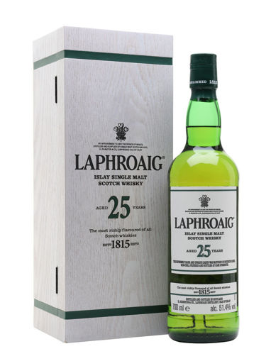 Slika Laphroaig 25 Years Old Islay Single Malt Scotch Whisky 2018 52% Vol. 0,7l in Wooden case