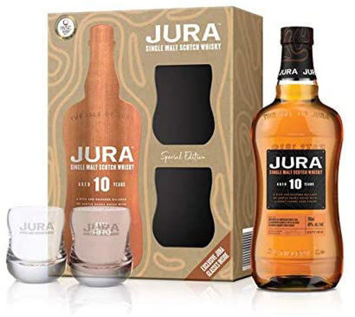 Slika Jura 10 Years Old Single Malt Scotch Whisky 40% Vol. 0,7l in Giftbox with 2 glasses