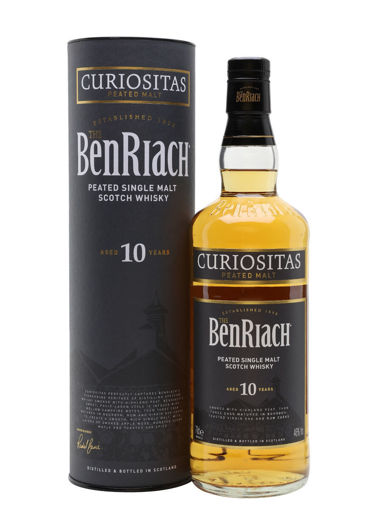 Slika The BenRiach 10 Years Old CURIOSITAS Peated Malt 46% Vol. 0,7l in Giftbox