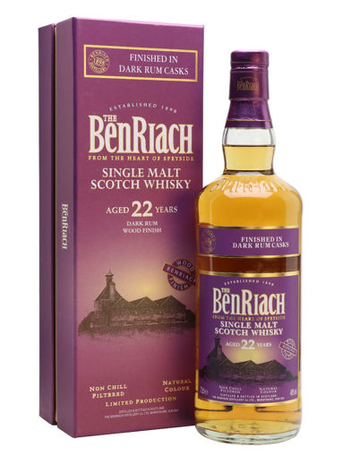 Slika The BenRiach 22 Years Old Dark Rum Wood Finish 46% Vol. 0,7l in Giftbox