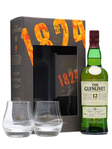 Slika The Glenlivet 12 Years Old Single Malt Scotch Whisky 40% Vol. 0,7l in Giftbox with 2 glasses