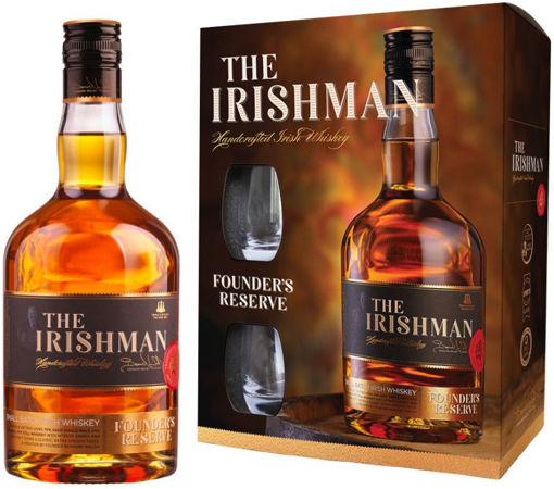Slika The Irishman FOUNDER'S RESERVE Small Batch Irish Whiskey 40% Vol. 0,7l in Giftbox with 2 glasses